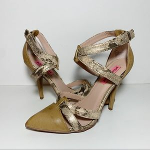 Tan & Metallic Snakeskin Print Ankle Strap Pointed